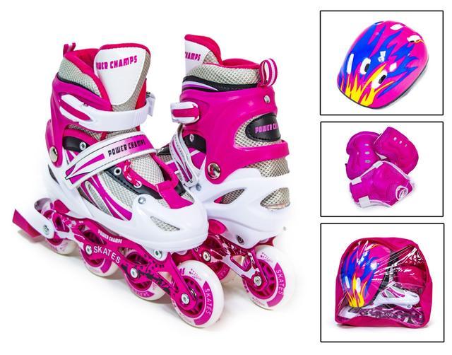"""Комплект роликов  """"Power Champs"""" с защитой и шлемом, Нежно Розового цвета, размер 29-33"""