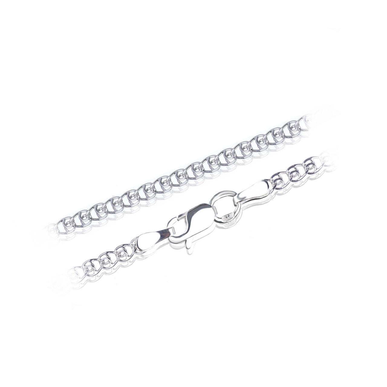 Родированная серебряная цепочка ЛАВ 2.5 мм, 40 см