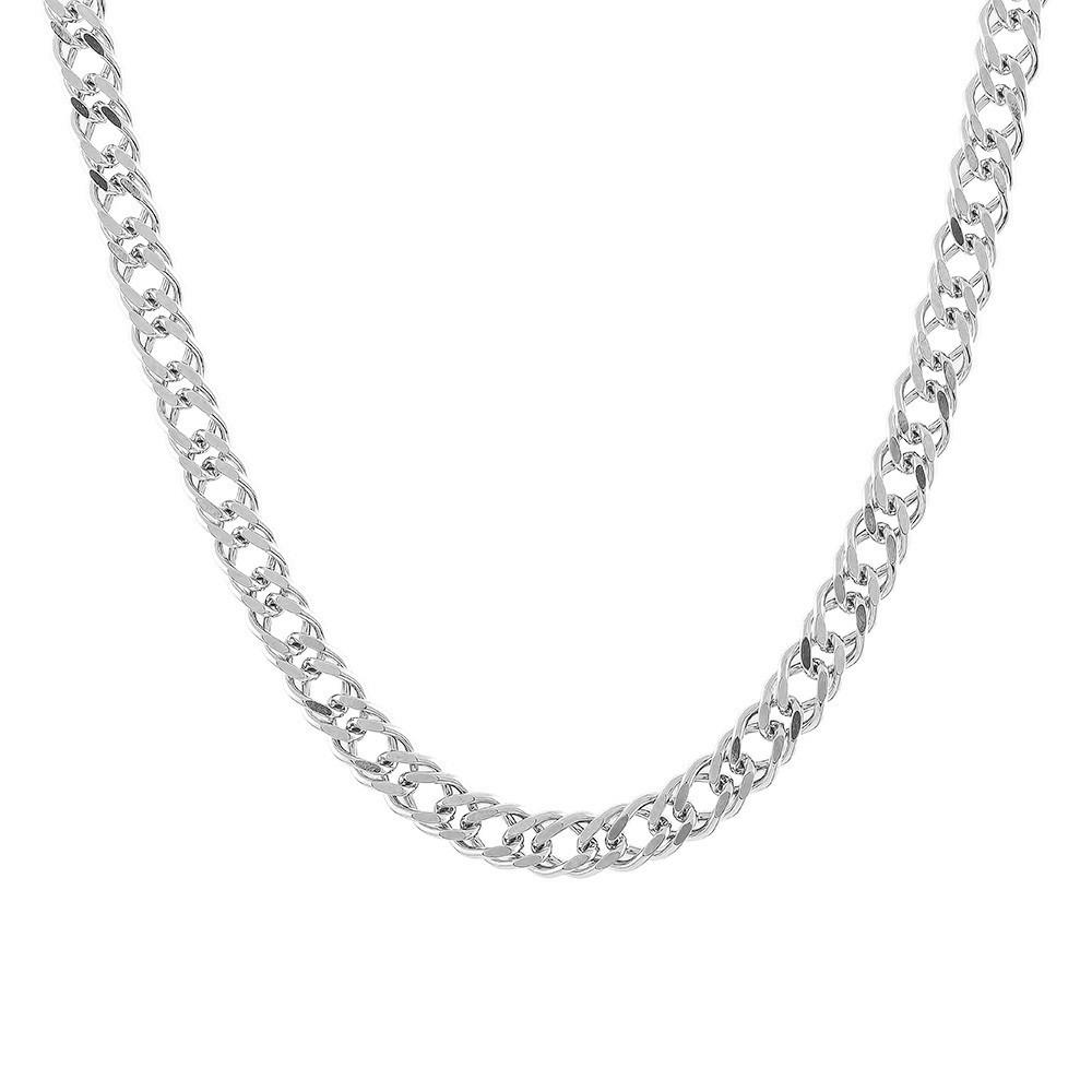 Родированная серебряная цепочка ДВОЙНОЙ РОМБ, РОМБ 5 мм 60 см