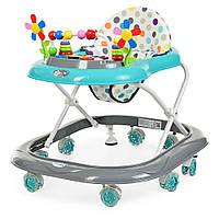 Детские ходунки музыкальные BAMBI M 3619 мятно-серый с подсветкой игровой панелью и силиконовыми колесами