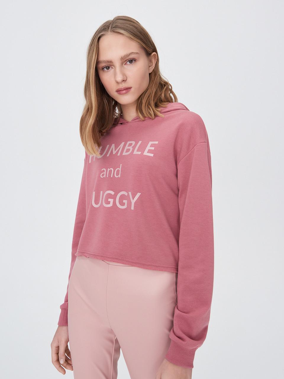 Розовый стильный женский свитшот с капюшоном тренд 2020