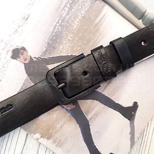 Мужской кожаный ремень Calvin Klein реплика Черный