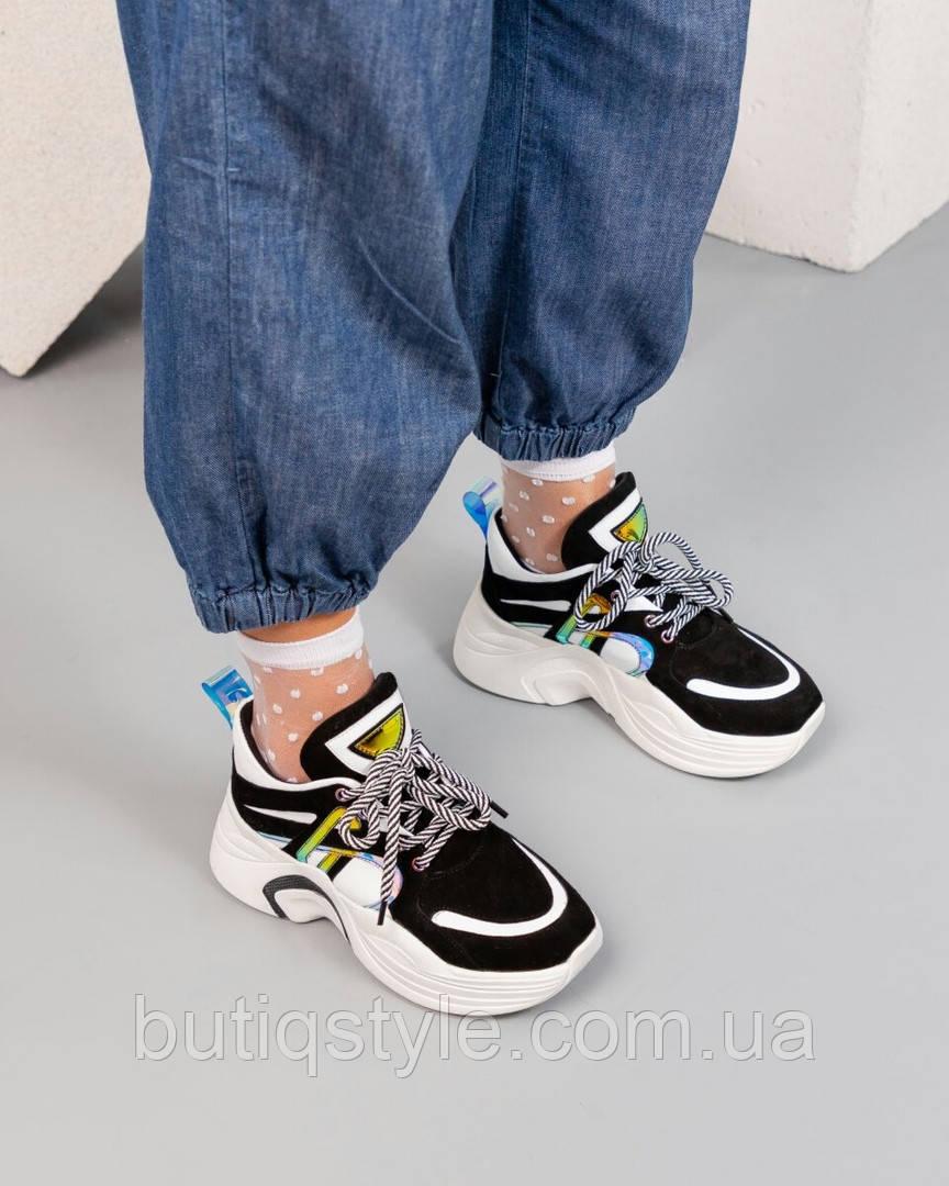 Женские черно-белые кроссовки натуральная кожа + замша на платформе