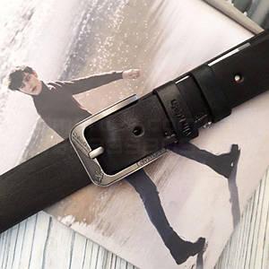 Мужской кожаный ремень Calvin Klein Черный реплика