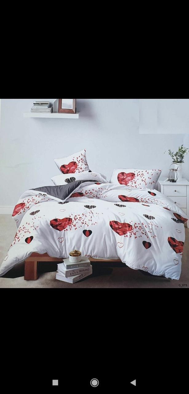 Качественное постельное бельё Сердечка (евро размер)