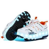 Роликовые кроссовки с LED подсветкой, белый с оранжевым на 2-х колёсах, размеры 28-38 (LR 1235)