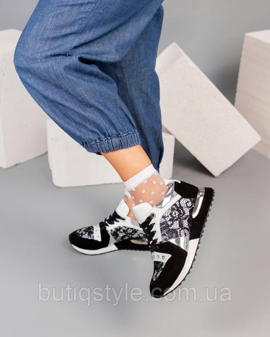 Женские черно-белые кроссовки натуральная кожа + замша + гипюр