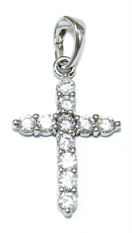 Крестик фирмы Xuping, Цвет: серебряный. Камни: белый циркон.  Высота 3 см. ширина 15 мм.