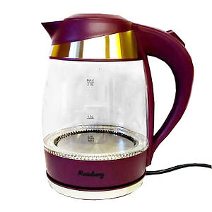 Электрический чайник Rainberg RB-707 | Дисковый стеклянный чайник с LED подсветкой
