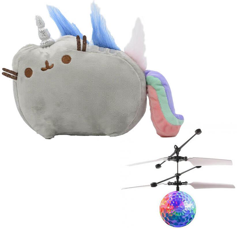Комплект Мягкая игрушка кот-единорог радуга Pusheen cat и Летающий светящийся шар JM-888 (vol-732)