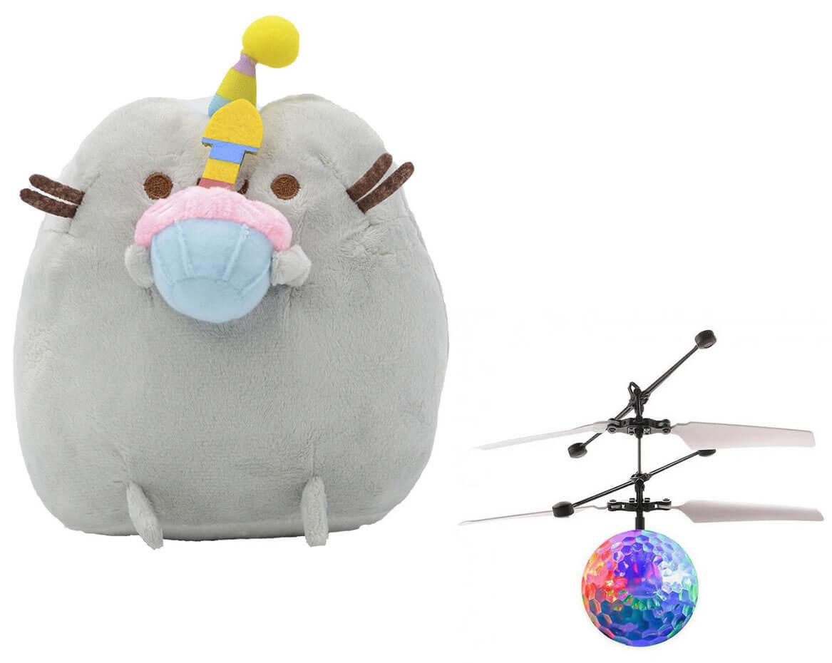 Комплект Мягкая игрушка кот с кексом Pusheen cat и Летающий светящийся шар JM-888 (n-734)