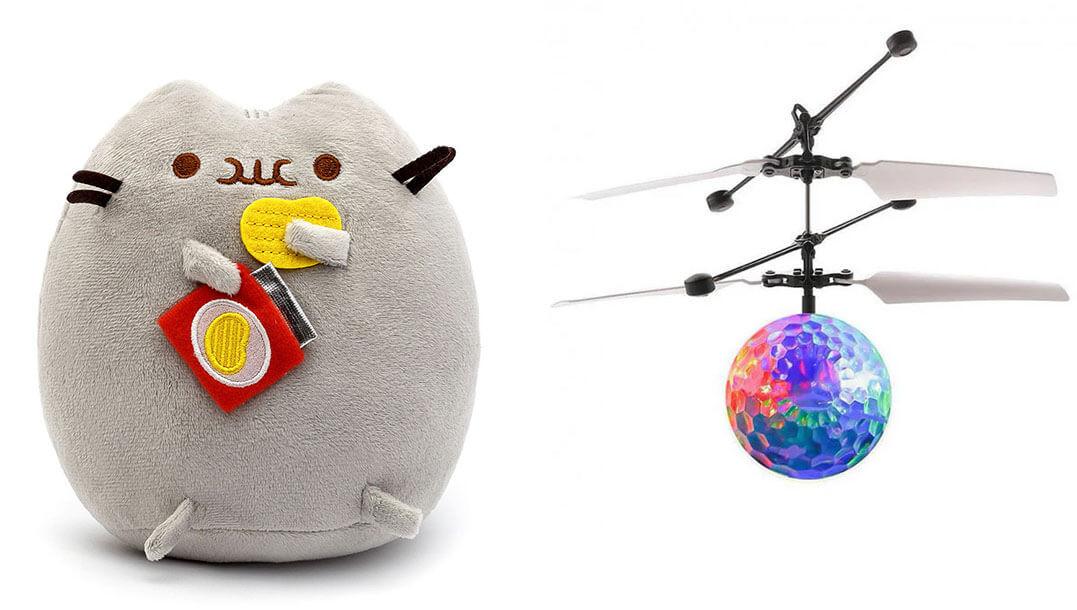 Комплект Мягкая игрушка кот с чипсами Pusheen cat и Летающий светящийся шар JM-888 (vol-738)