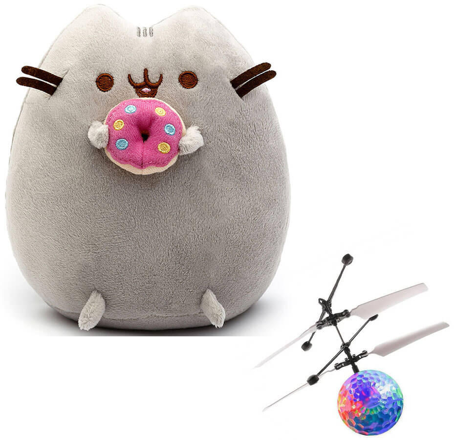 Комплект Мягкая игрушка кот с пончиком Pusheen cat и Летающий светящийся шар JM-888 (n-739)