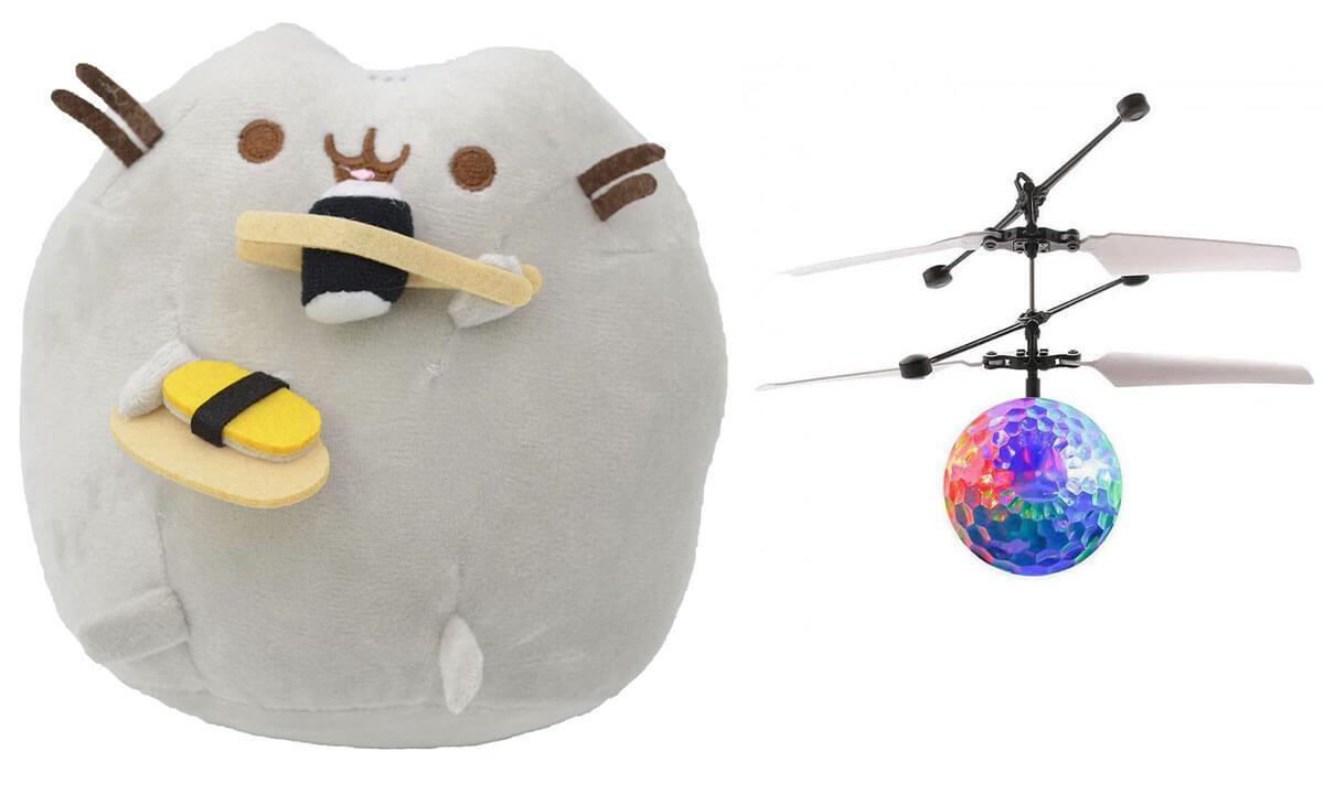 Комплект Мягкая игрушка кот с суши Pusheen cat и Летающий светящийся шар JM-888 (n-740)