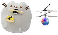 Комплект Мягкая игрушка кот с суши Пушин кэт и Летающий светящийся шар JM-888 (n-740)