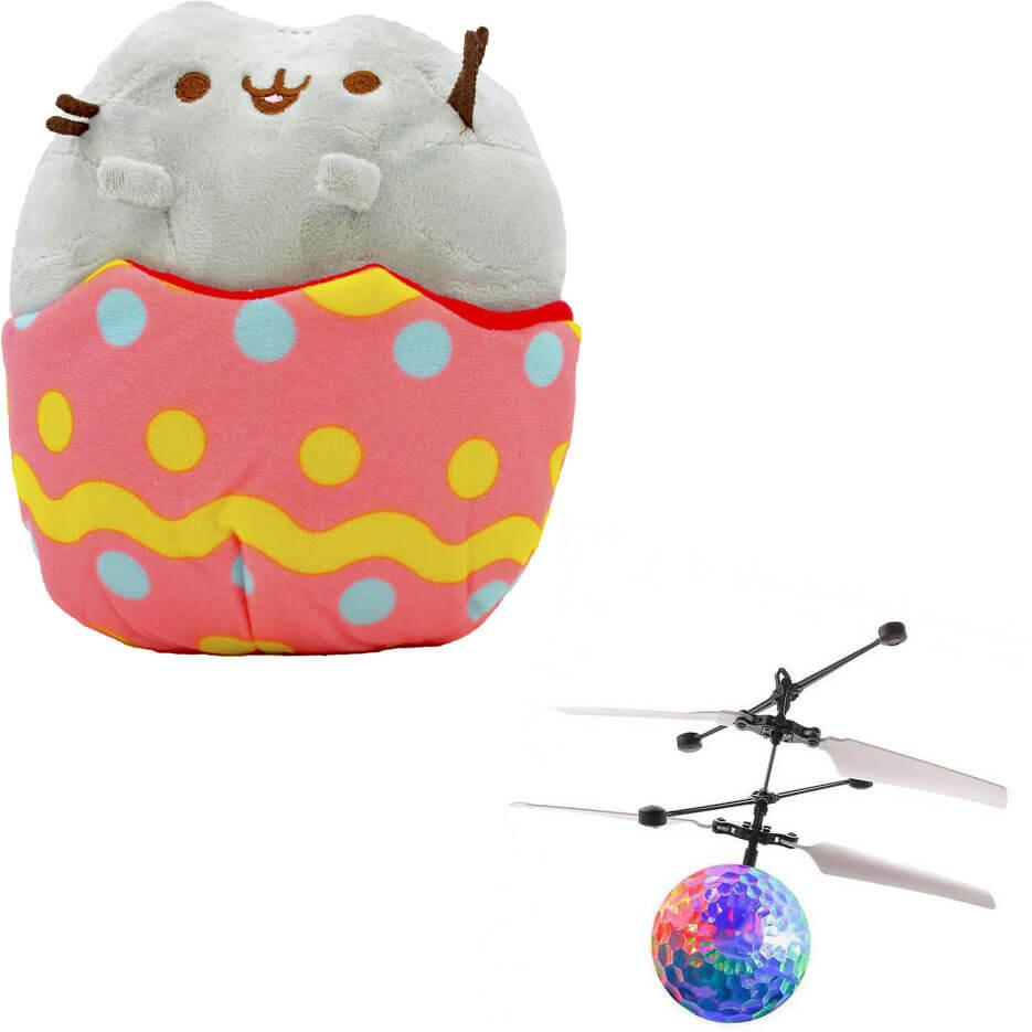 Комплект Мягкая игрушка кот в яйце Pusheen cat и Летающий светящийся шар JM-888 (vol-741)