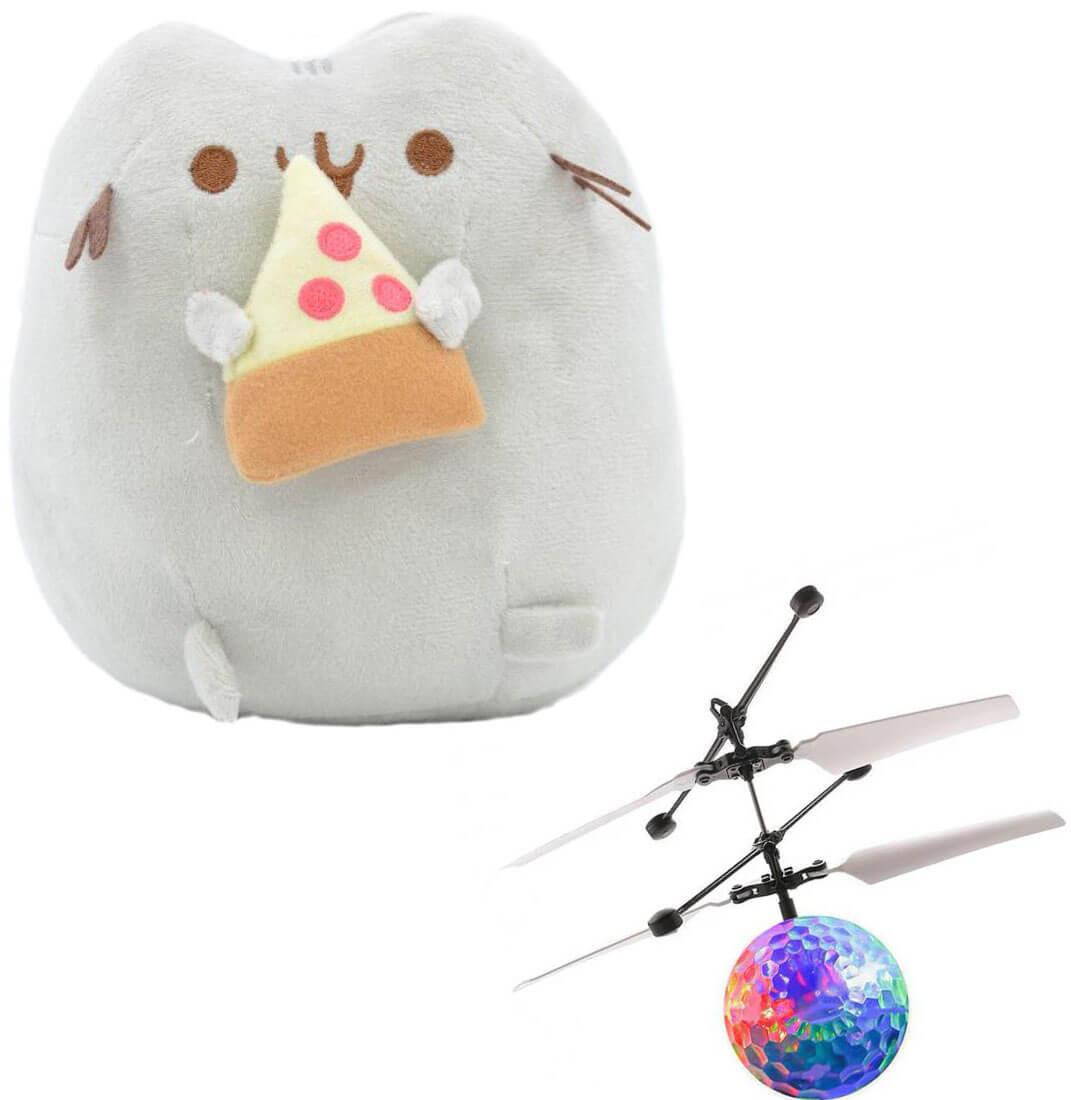 Комплект Мягкая игрушка кот с кусочком пиццы Pusheen cat и Летающий светящийся шар JM-888 (vol-742)