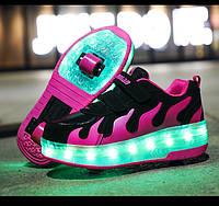 Роликовые кроссовки с LED подсветкой, малиновые с черным на 2-х колёсах, размер 30 (LR 1239)
