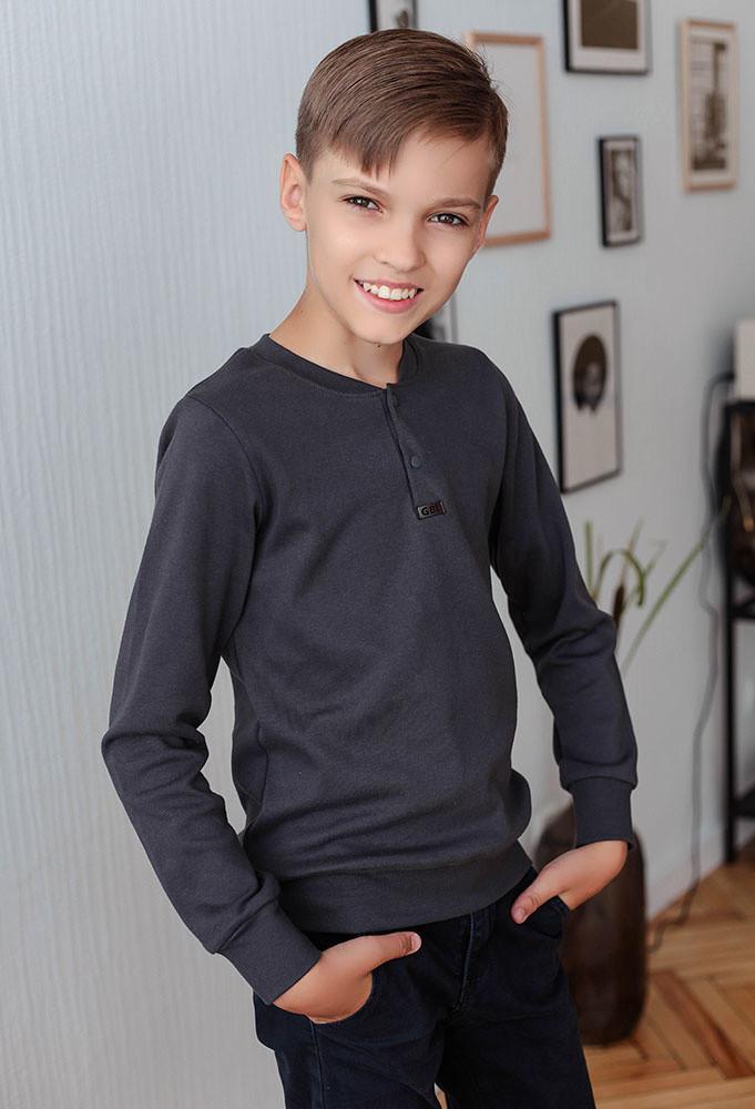 Детский джемпер для мальчика *Класс-2* (размеры 122-146. Цвет синий,серый,темно-серый)