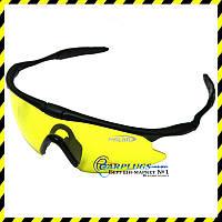 Очки для стрельбы, охоты с UV-защитой, жёлтые линзы.