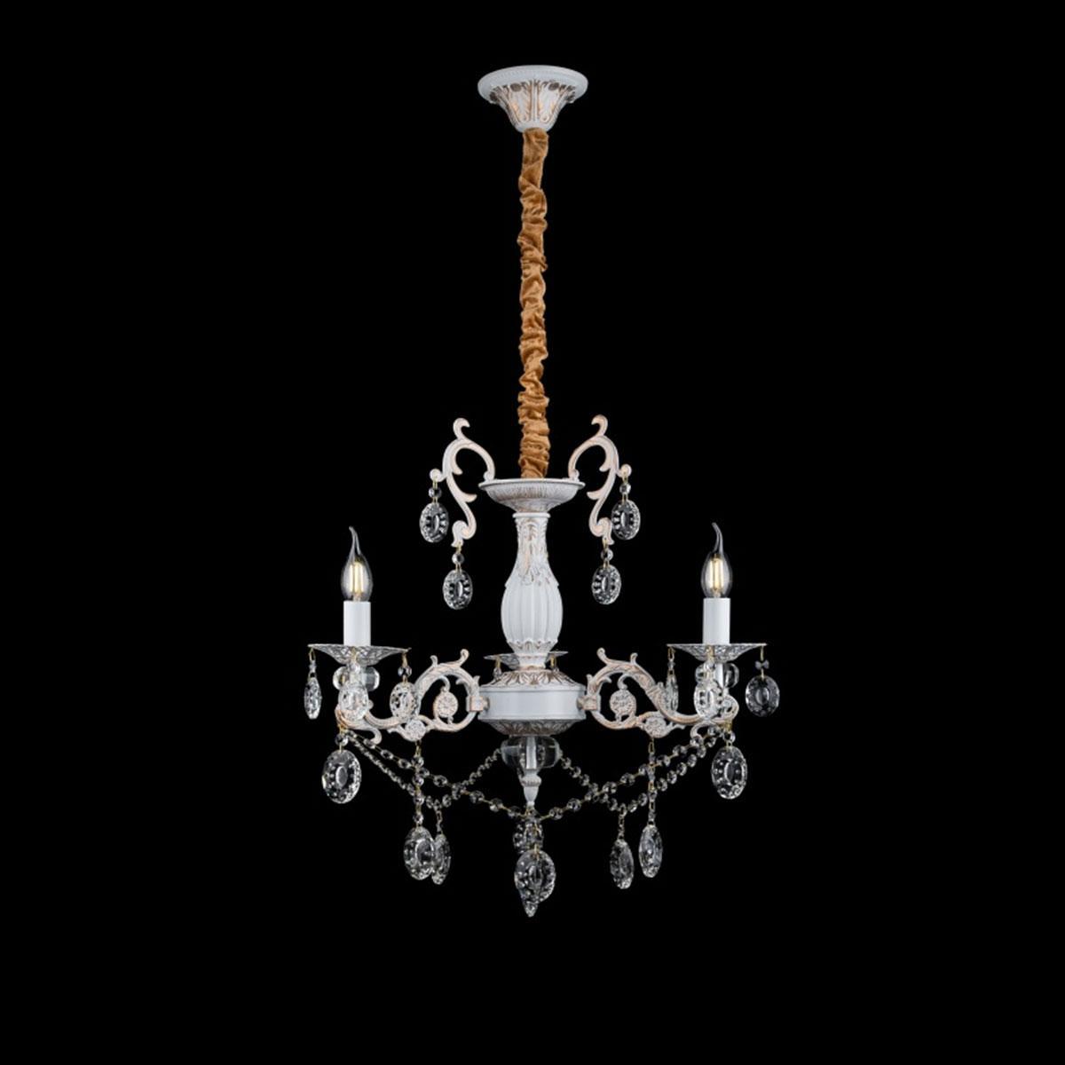 Классическая люстра-свеча на 3 лампочки СветМира золотая патина VL-L77221/3 (WT+GD)