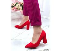 Туфлі замшеві на широкому стійкому каблуці, фото 1