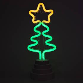 Неоновый светильник Елочка на подставке, ночник, 11*9*28 см, батарейки/USB провод (140564)