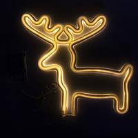Неоновый светильник настенно-потолочный - Олень, 26x1,7x28 см, теплый цвет, 3AA батарейки (140618)
