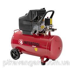 Воздушный поршневой Компрессор 50 л, 2 HP, 1,5 кВт, 220 В, 8 атм, 206 л/мин. INTERTOOL PT-0003