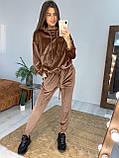 Женский спортивный костюм велюровый Цвета: чёрный, мокко. Размеры: 42-46, 48-52., фото 3