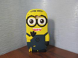 Объемный 3D силиконовый чехол для Samsung Note 2 Galaxy N7100 Миньон Боб темный