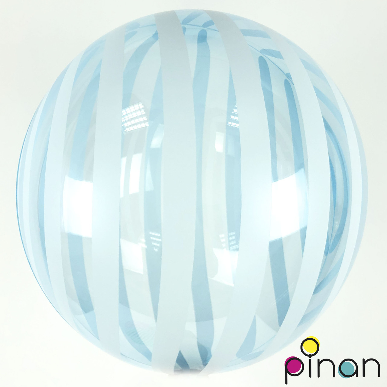 "Шар Bubbles голубой с полосками кристалл, Pinan 45 см (18"")"
