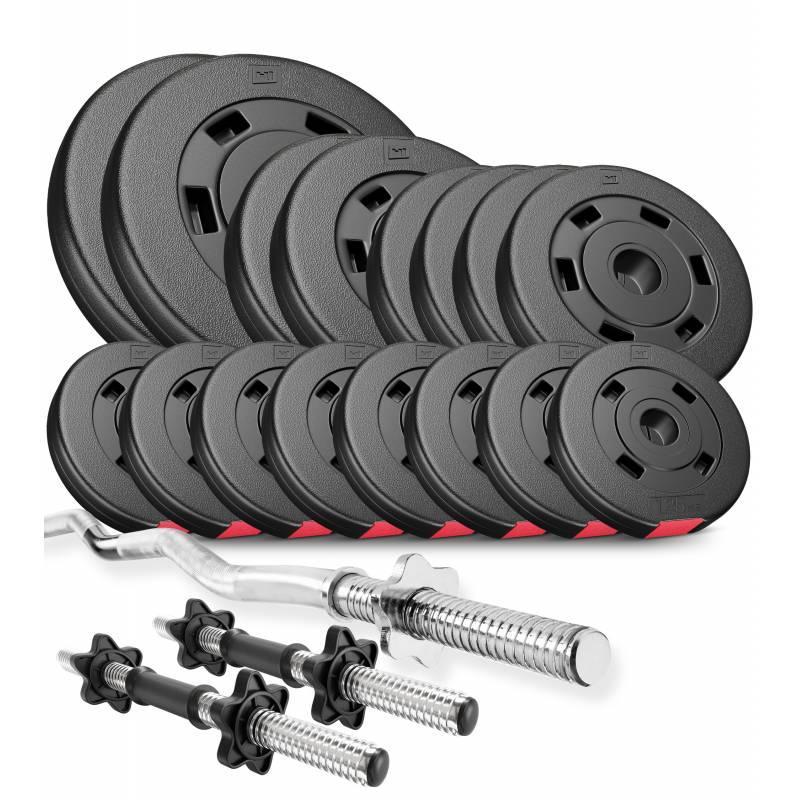Штанга + гантели 57 кг композитные блины Hop-Sport Premium силовой набор для жима с W- или Z-образным грифом