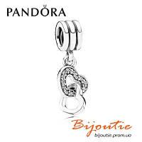 Pandora Шарм ПОЄДНАНІ СЕРЦЯ №791242CZ серебро 925 Пандора оригинал