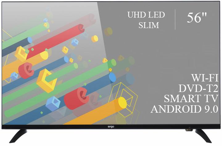 """Качественный телевизор Ergo 56"""" Smart-TV//DVB-T2/USB адаптивный UHD,4K/Android 9.0"""