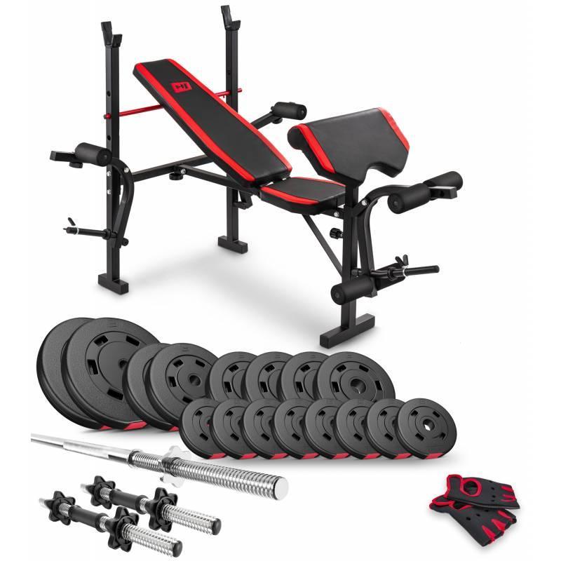 Штанга + гантели 60 кг со скамьей HS-1055 Hop-Sport силовой набор для жима с прямым грифом