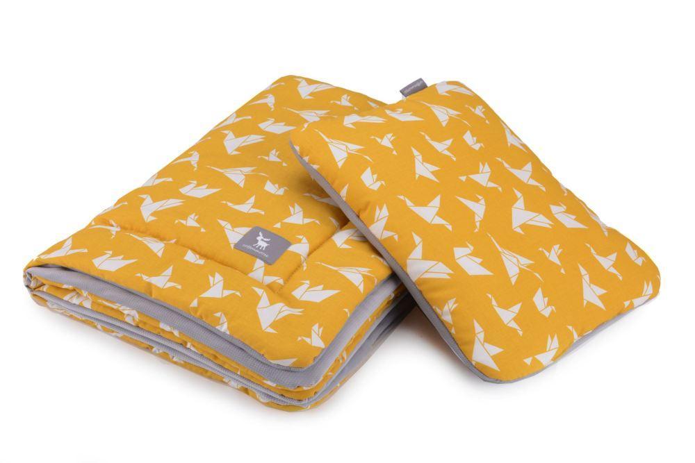 Плед с подушкой Cottonmoose Cotton Velvet 408/85/117 origami cotton velvet gray (оранжевый (оригами) с серым (бархат))