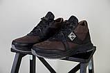 Ботинки мужские из нубука коричневые с вставками черной кожи, зимние, фото 3