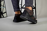 Ботинки мужские из нубука коричневые с вставками черной кожи, зимние, фото 4