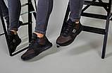 Ботинки мужские из нубука коричневые с вставками черной кожи, зимние, фото 5