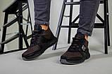 Ботинки мужские из нубука коричневые с вставками черной кожи, зимние, фото 9