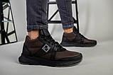 Ботинки мужские из нубука коричневые с вставками черной кожи, зимние, фото 6