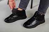Ботинки мужские кожаные черного цвета с вставкой нубука зимние, фото 6