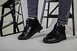 Ботинки мужские кожаные черного цвета с вставкой нубука зимние, фото 8