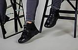 Ботинки мужские кожаные черного цвета с вставкой нубука зимние, фото 10