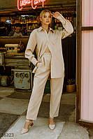 Брючный костюм с рубашкой бежевого цвета