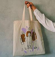 Эко-сумка из саржи с рисунком Три девушки