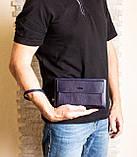 Кожаный мужской клатч на две молнии Karya 0796-44 синий, фото 5