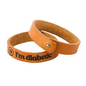 """Кожаный браслет """" I'm Diabetic """" подростковый"""