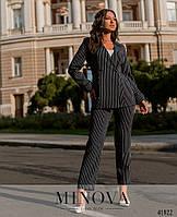 Элегантный брючный костюм в полоску с двубортным пиджаком на подкладке с 48 по 64 размер, фото 1